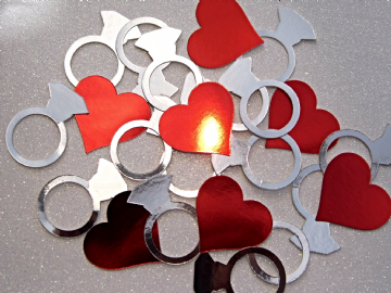 Silver Engagement Ring Confetti Red Hearts
